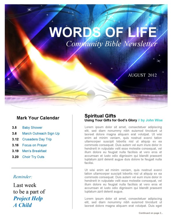 Revival Church Newsletter Template