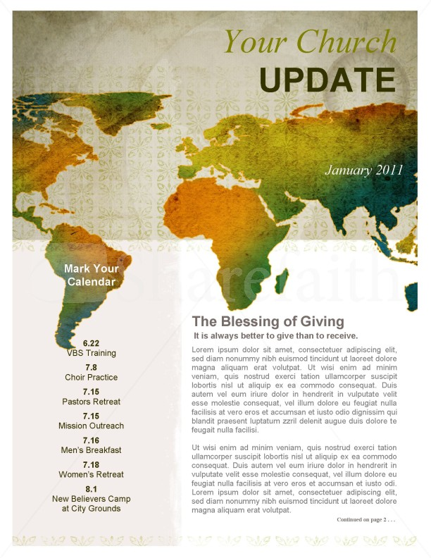Missionary Outreach Church Newsletter | page 1
