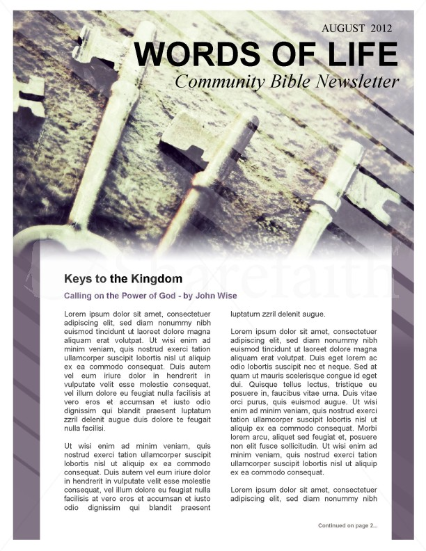 Keys of the Kingdom Church Newsletter Template | page 1