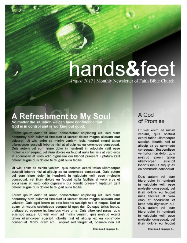 Refreshment Church Newsletter Template