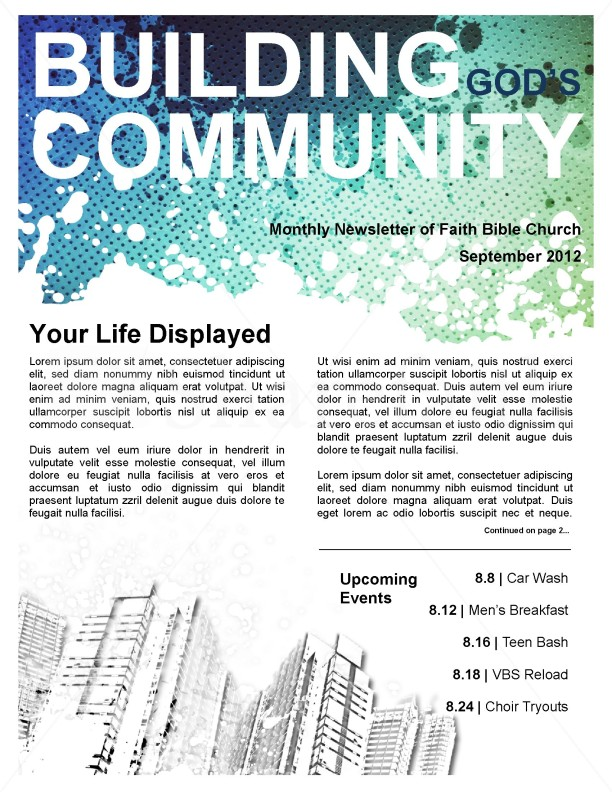 Community Church Newsletter Template Template | Newsletter Templates