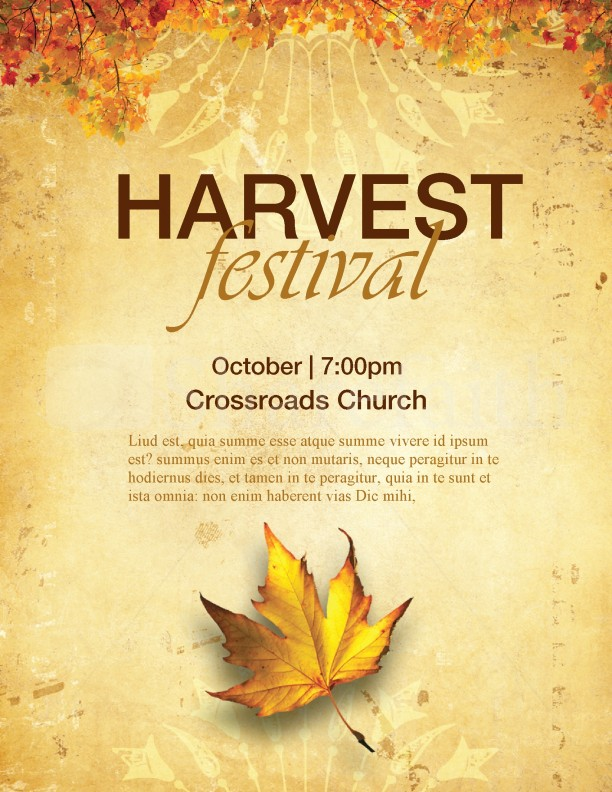 Church harvest festival flyers template flyer templates for Religious flyers template free