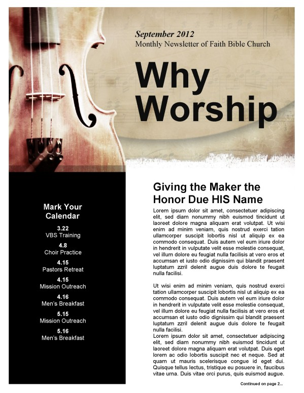 Church Newsletter Worship Theme