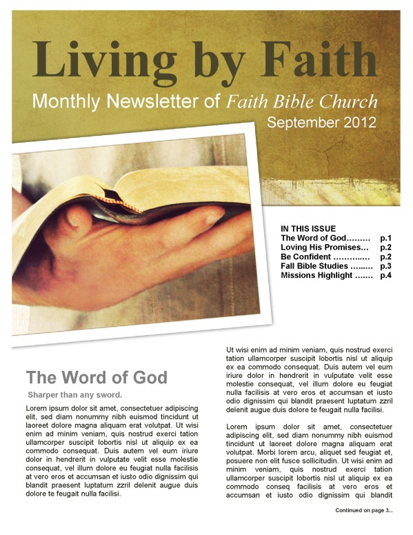 Living By Faith Church Newsletter