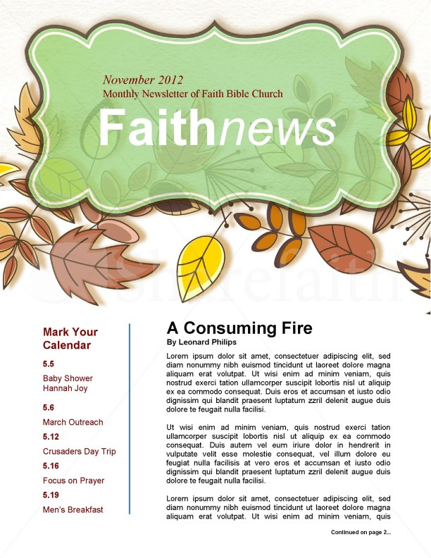 Fall Newsletter Template for Churches