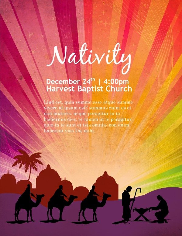 Nativity Poster Church Flyer Template