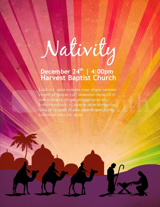 Nativity Poster Church Flyer Template Template Flyer Templates
