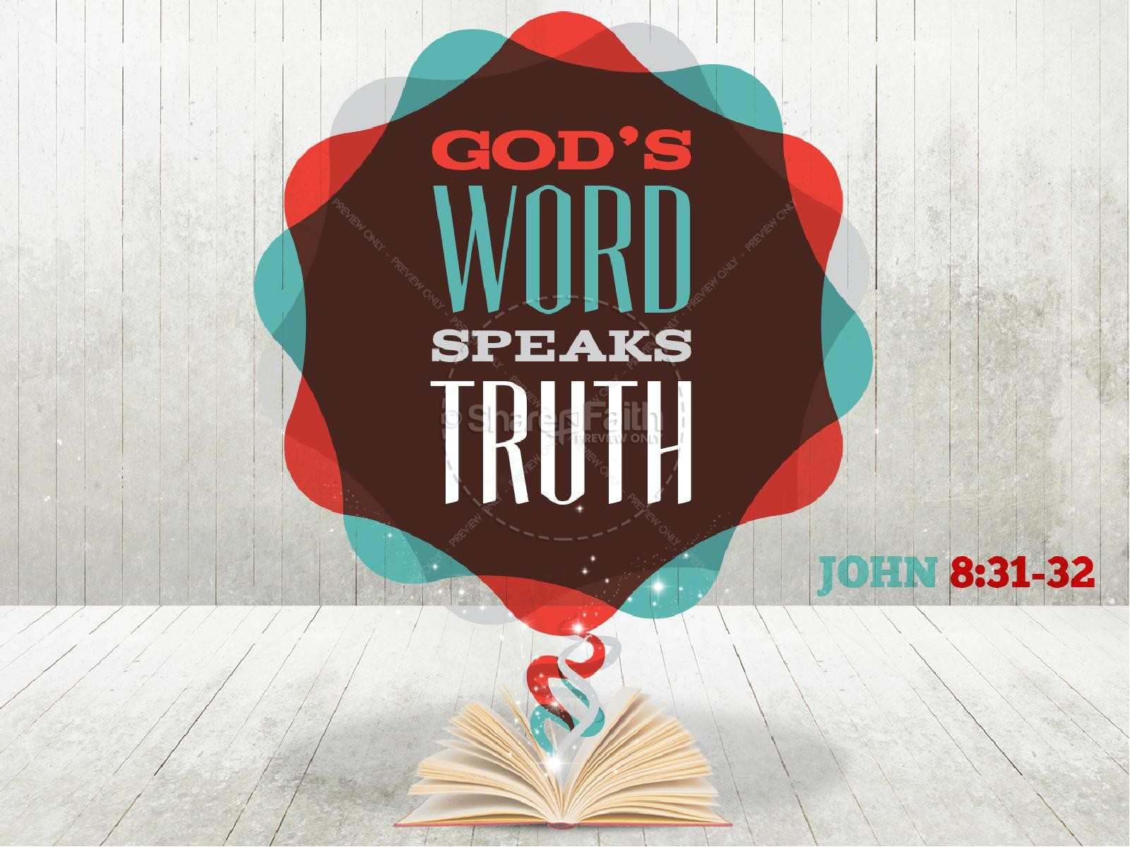 Gods Word Speaks Truth Bible Sermon PowerPoint Template | PowerPoint ...