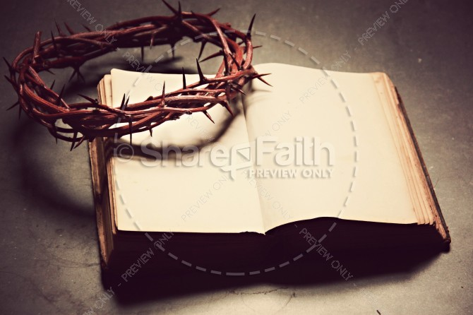 Crown and Bible Religious Stock Image