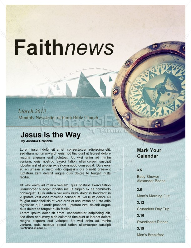 Jesus Is the Way Church Newsletter | page 1
