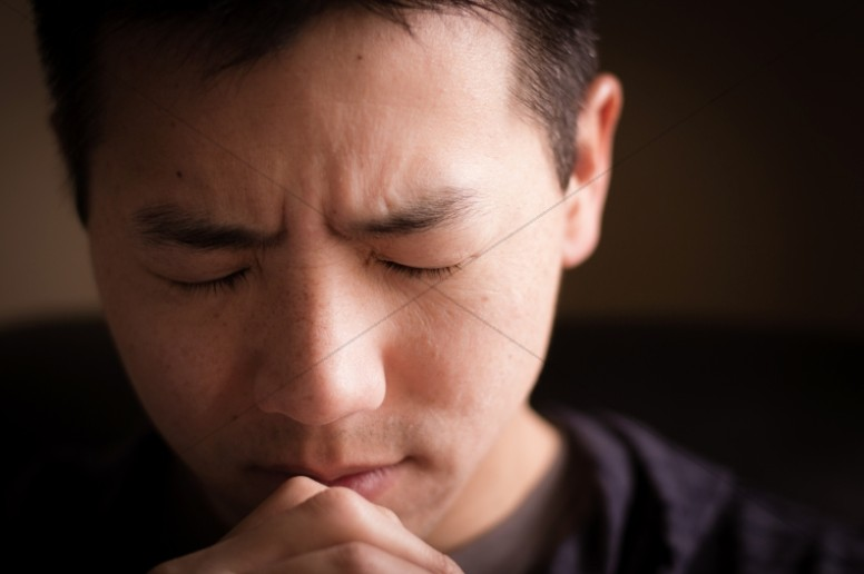 Man Praying Religious Stock Image