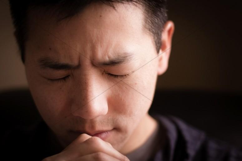 Man Praying Religious Stock Image