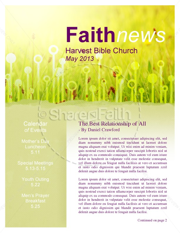 Summer Newsletter Template for Church