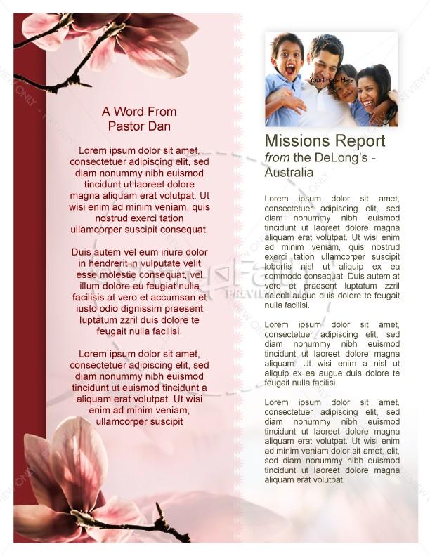 Flower Newsletter Template for Church