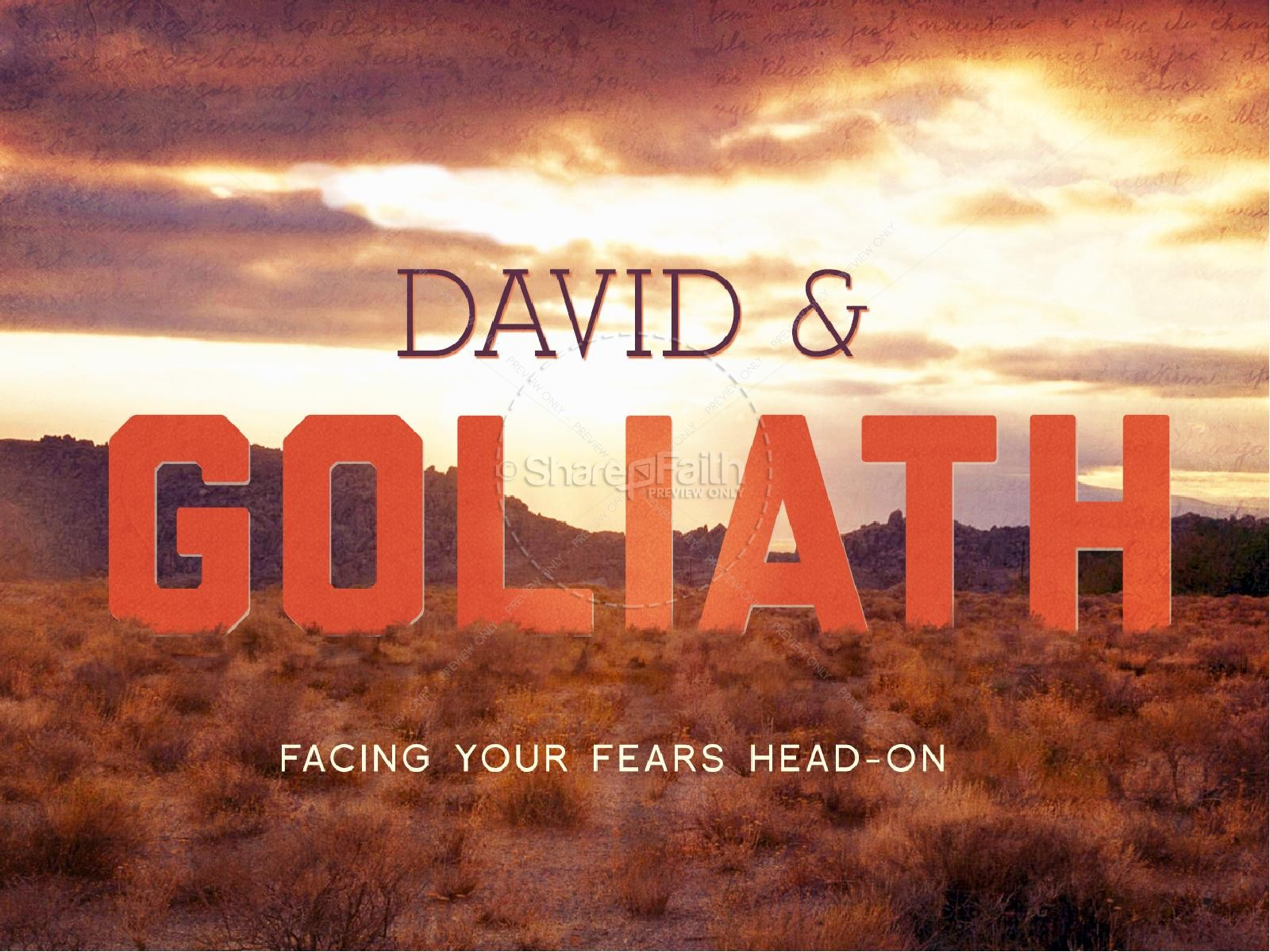 David and Goliath Bible Story PowerPoint Template | slide 1