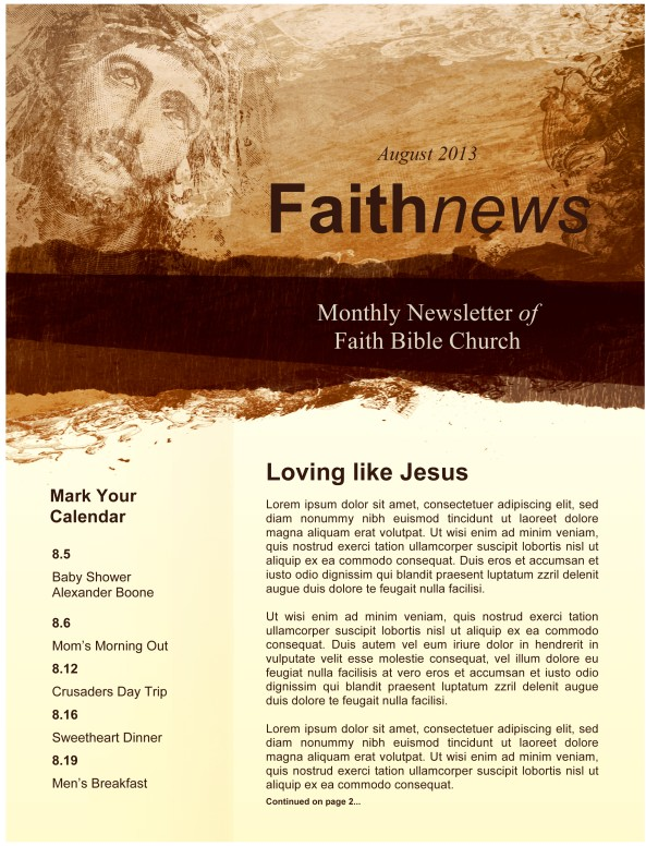 Jesus Image Newsletter Template