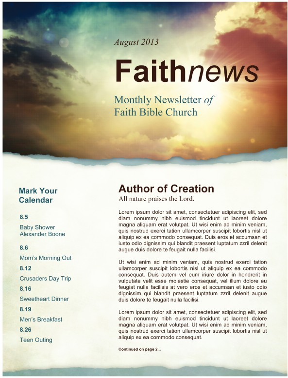 Sun Rays and Clouds Newsletter Template