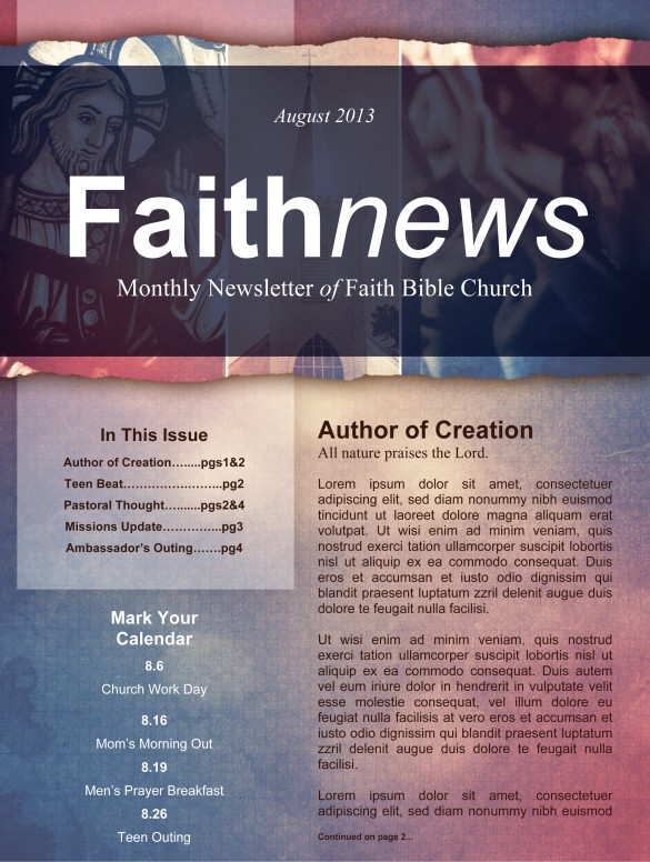 Define Church Newsletter Template