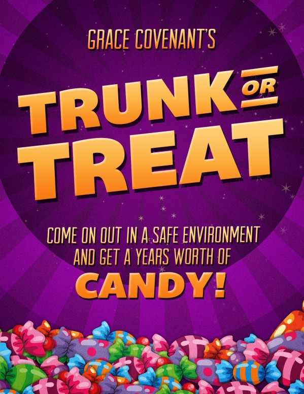 Trunk or Treat Fall Festival Celebration Flyer for Church