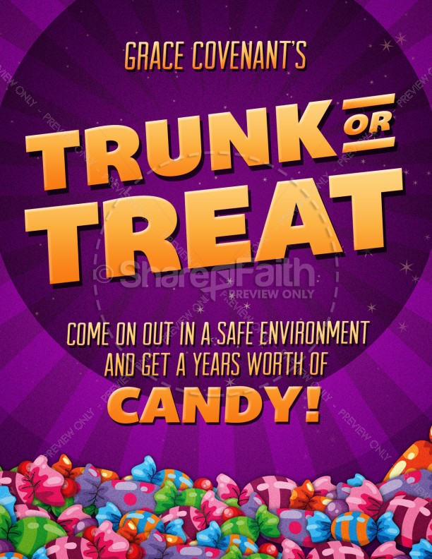 trunk or treat fall festival celebration flyer for church template