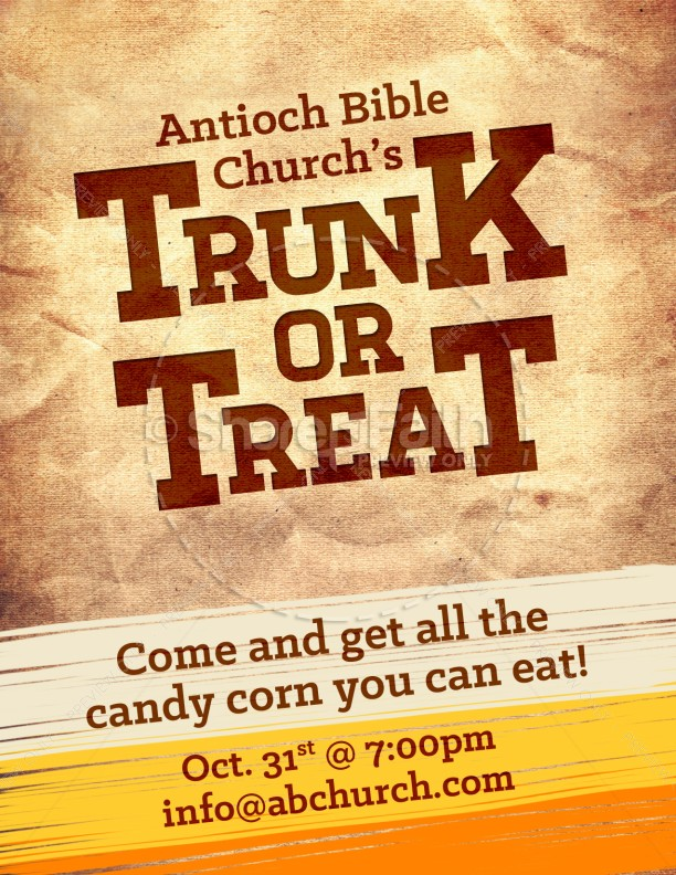 Church Fall Flyer For Trunk Or Treat Template | Flyer Templates