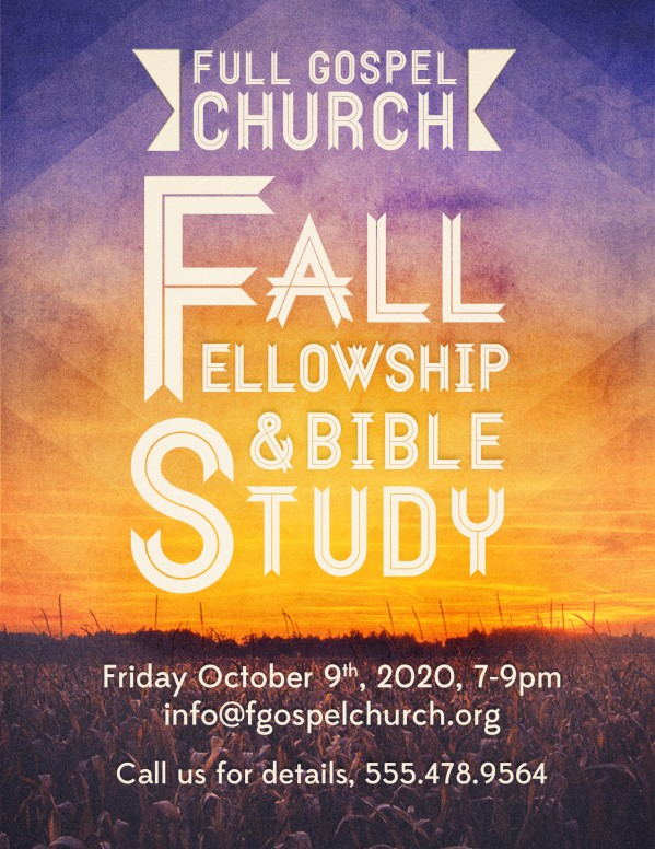 Fall Fellowship and Bible Study Church Flyer