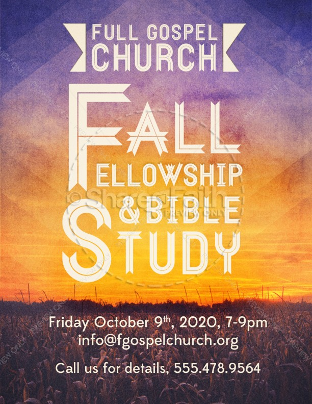 fall fellowship and bible study church flyer template flyer templates. Black Bedroom Furniture Sets. Home Design Ideas