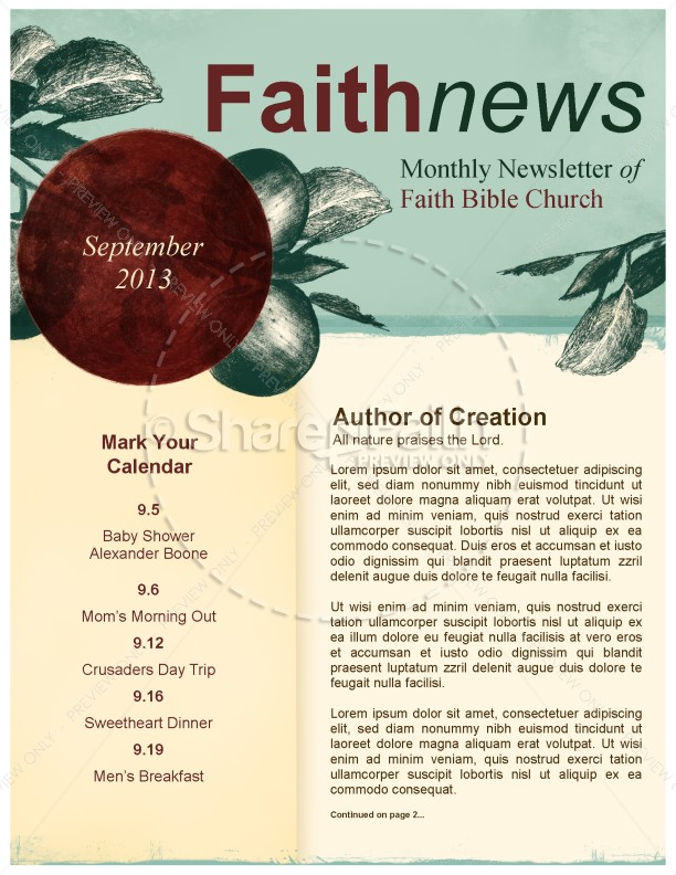 Bearing Fruit Church Newsletter | page 1
