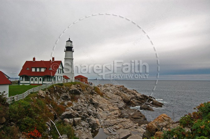 Lighthouse on a Hill Ministry Stock Photo