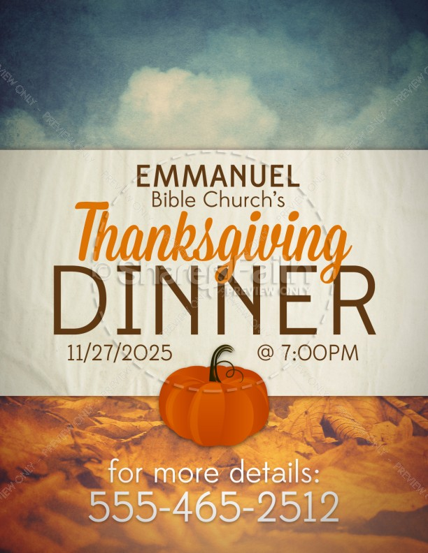 Thanksgiving Dinner Religious Flyer Template  Flyer Templates