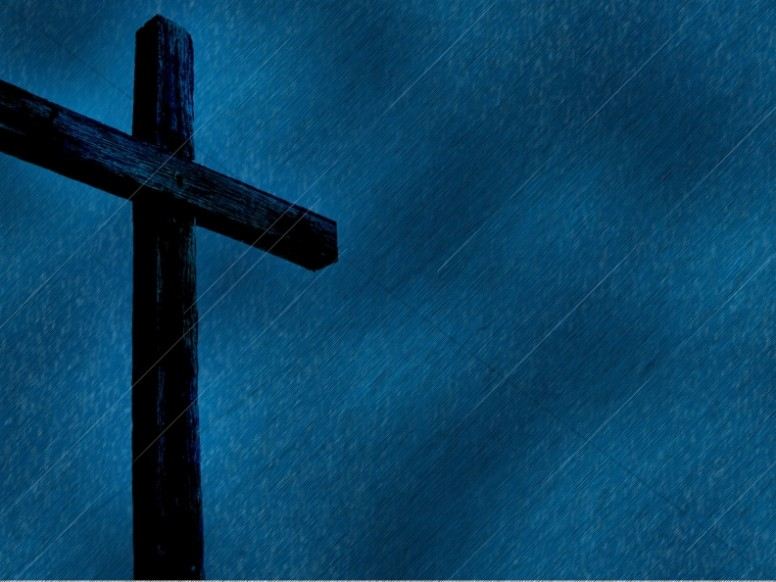 Cross Design Christian Background Blue Rain