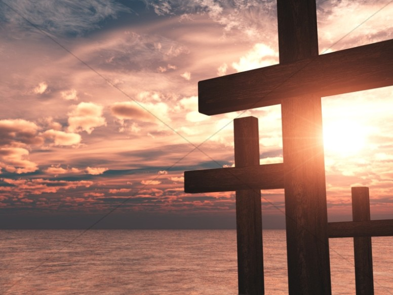 Cross Design Christian Background Ocean Sunset