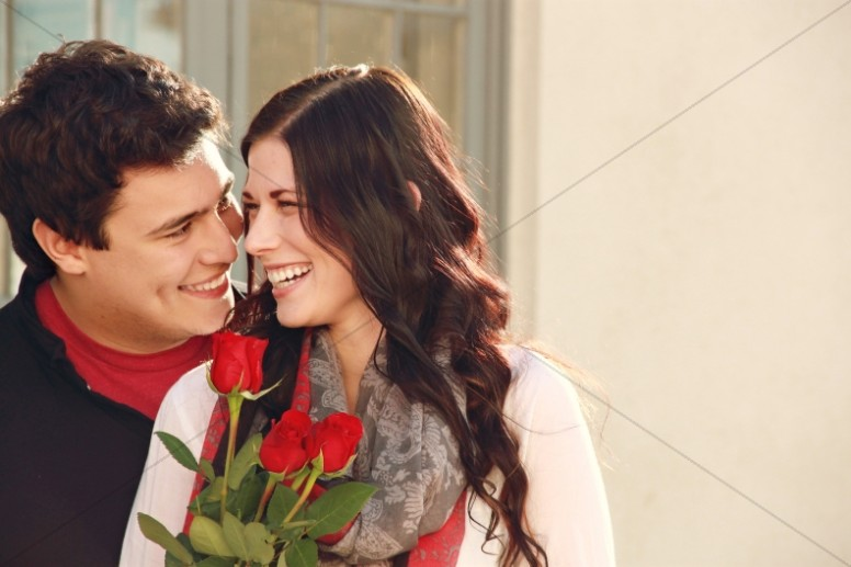 Valentines Day Couple Red Roses Christian Stock Photo
