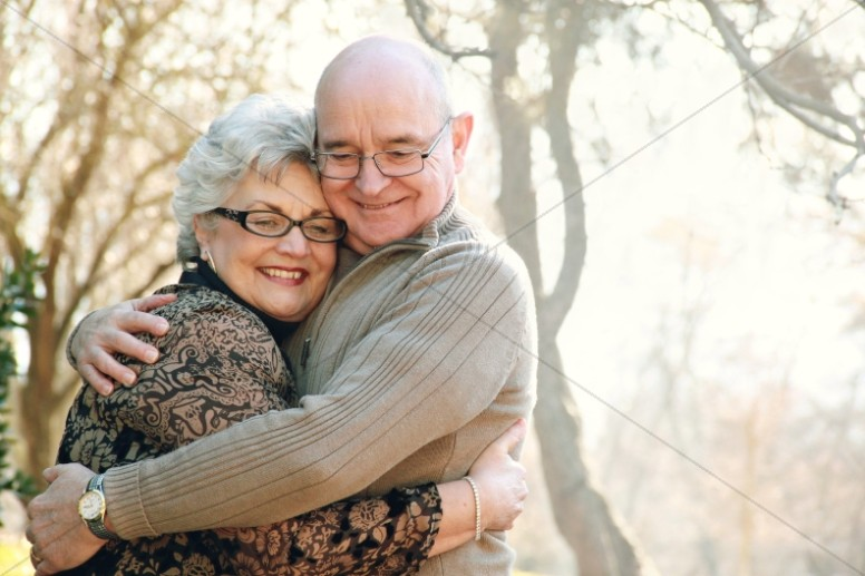 Elder Couple Marriage Hugging Christian Stock Photo