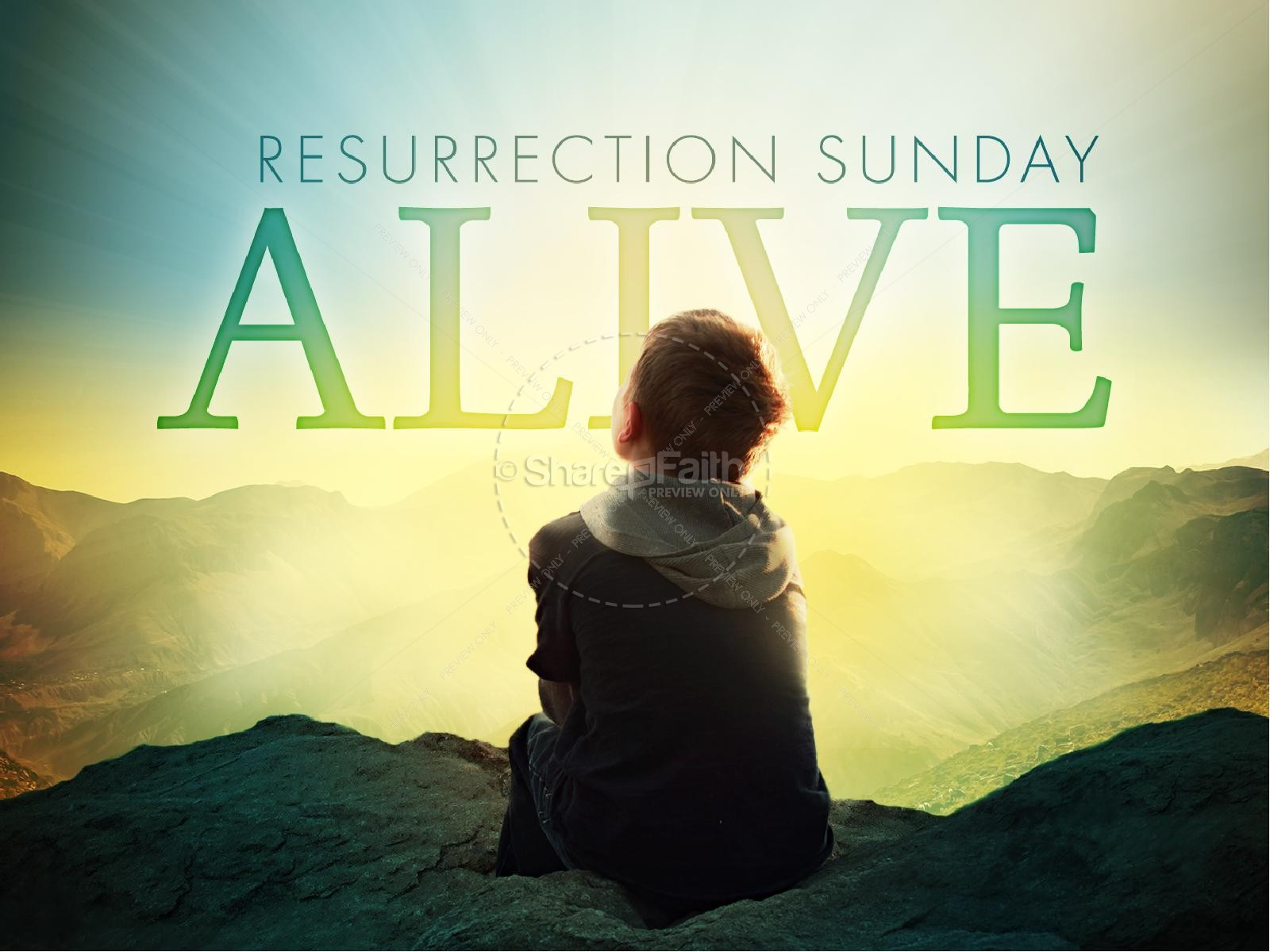 Resurrection Sunday Alive Easter Graphics PowerPoint