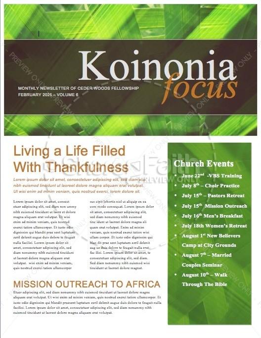 Palm Sunday Minstry Newsletter