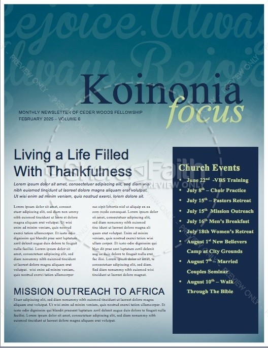 Rejoice in the Lord Ministry Newsletter