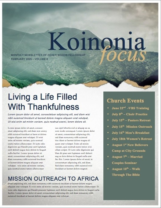 Mountain Heights Minsitry Newsletter