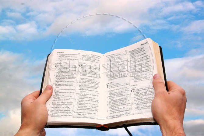 Bible in the Sky Religious Stock Photo