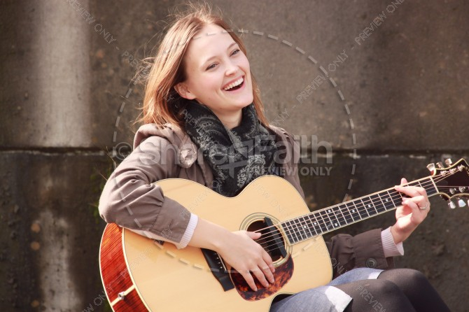 Guitar Girl Christian Stock Photo