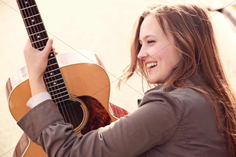 Guitar Girl in Praise Religious Stock Image