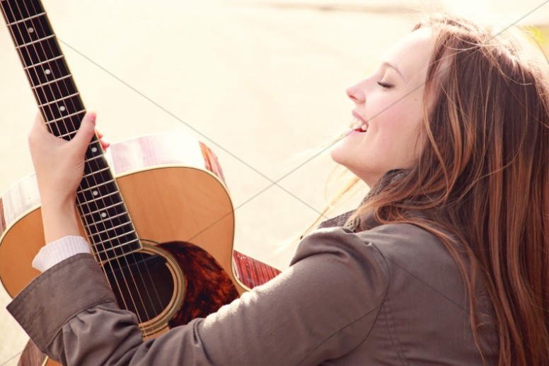 Guitar Girl Joy Church Stock Photo