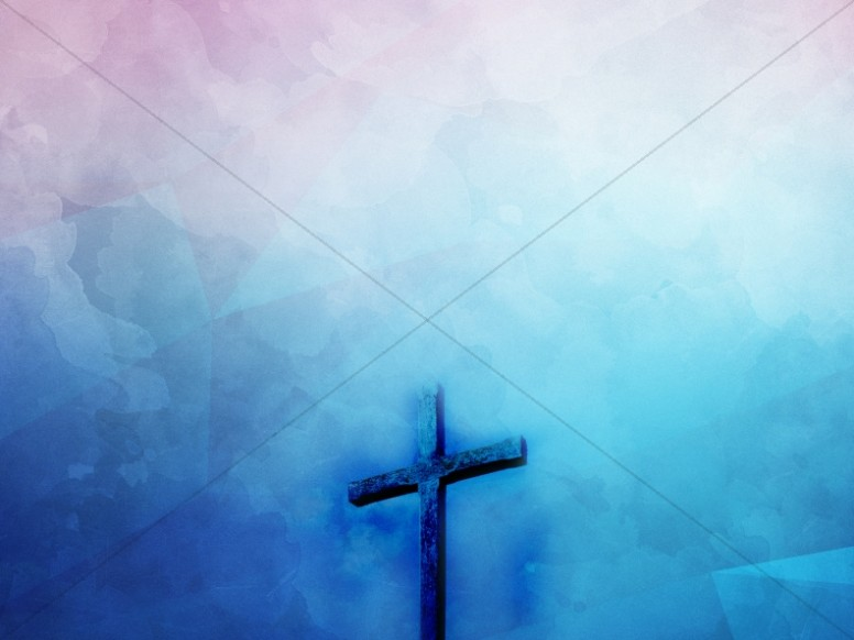 Cross Watercolor Blue Religious Background