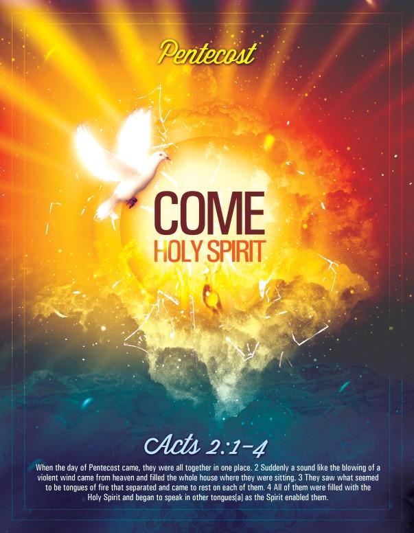 Pentecost Come Holy Spirit Religious Flyer
