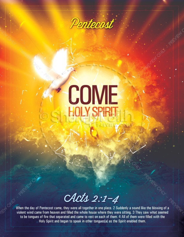 Pentecost Come Holy Spirit Religious Flyer Template ...