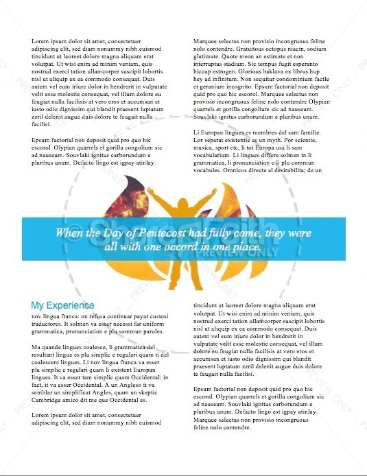 Day of Pentecost Spring Christian Newsletter Template   page 2