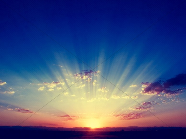 Sunrise Burst Landscape Christian Stock Photo