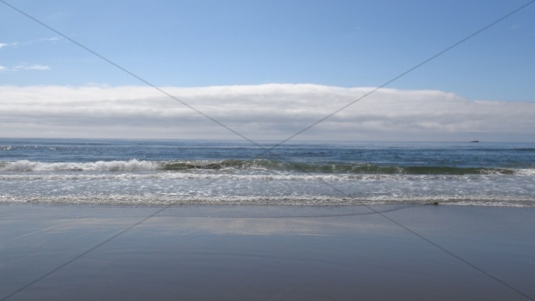 Blue Beach Horizon Religious Stock Photo