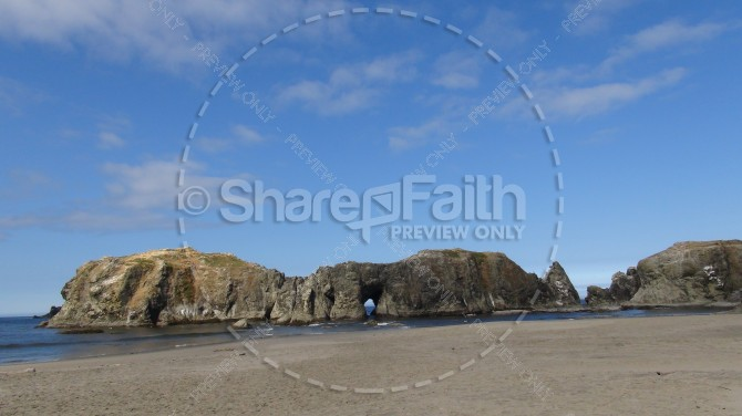 Rock and Sand Beach Landscape Church Stock Photo