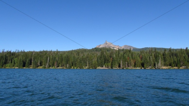 Shoreline of Trees and Mountain Views Stock Photo